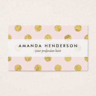 Elegant Gold Foil Polka Dot Pattern - Pink & Gold Business Card