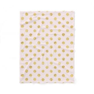 Elegant Gold Foil Polka Dot Pattern - Pink & Gold Fleece Blanket