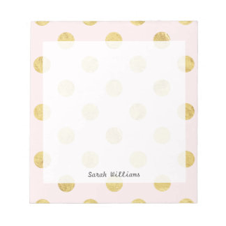 Elegant Gold Foil Polka Dot Pattern - Pink & Gold Notepad