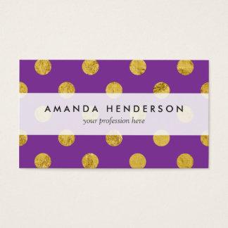 Elegant Gold Foil Polka Dot Pattern - Purple Business Card