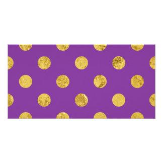 Elegant Gold Foil Polka Dot Pattern - Purple Card