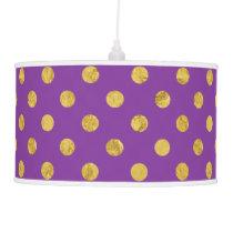 Elegant Gold Foil Polka Dot Pattern - Purple Ceiling Lamp