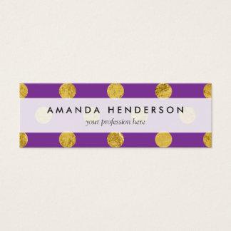 Elegant Gold Foil Polka Dot Pattern - Purple Mini Business Card