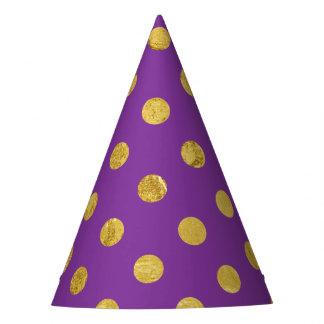 Elegant Gold Foil Polka Dot Pattern - Purple Party Hat