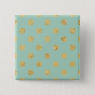Elegant Gold Foil Polka Dot Pattern - Teal Gold Button