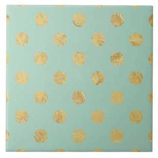 Elegant Gold Foil Polka Dot Pattern - Teal Gold Ceramic Tile