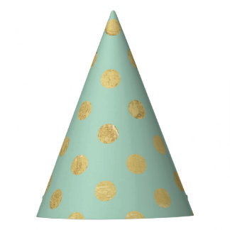 Elegant Gold Foil Polka Dot Pattern - Teal Gold Party Hat