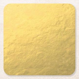 Elegant Gold Foil Printed Square Paper Coaster