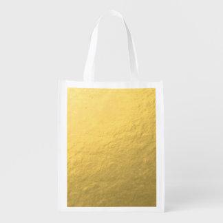 Elegant Gold Foil Printed Reusable Grocery Bags