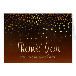 Elegant Gold Foil Sunset Clouds Thank You Greeting Card
