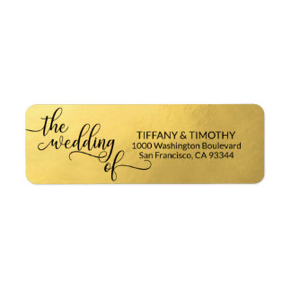 Elegant Gold Foil THE WEDDING OF Return Address Label