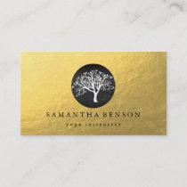 Elegant Gold Foil Watercolor Tree Yoga Meditation Business Card