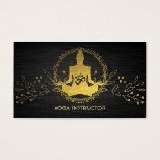 Elegant Gold Foil Yoga Meditation Pose Om Symbol Business Card at Zazzle
