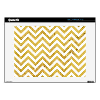 Elegant Gold Foil Zigzag Stripes Chevron Pattern Acer Chromebook Decals