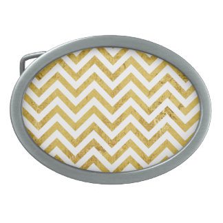Elegant Gold Foil Zigzag Stripes Chevron Pattern Belt Buckle