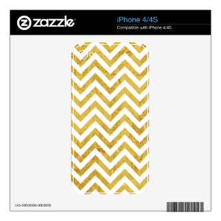 Elegant Gold Foil Zigzag Stripes Chevron Pattern Decals For The iPhone 4S
