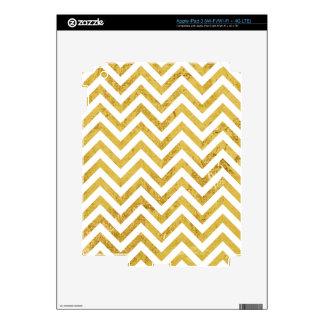 Elegant Gold Foil Zigzag Stripes Chevron Pattern iPad 3 Skin