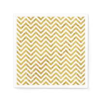 Elegant Gold Foil Zigzag Stripes Chevron Pattern Napkin