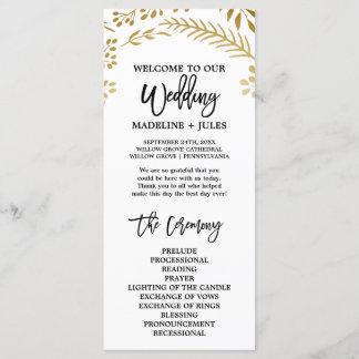Elegant Gold Foliage Wedding Program