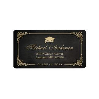 Elegant Gold Frame Graduation Cap Grad Graduate Label
