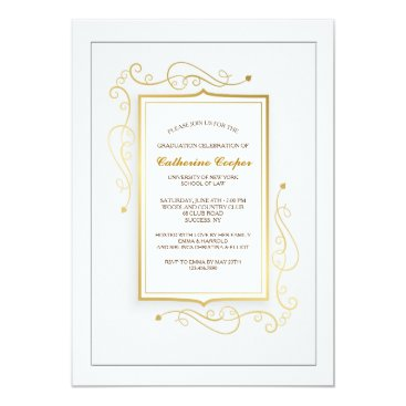 Elegant Gold Frame Graduation Invitation