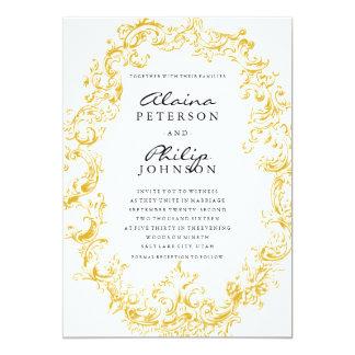 "Elegant Gold Frame Wedding Invitation Template 5"" X 7"" Invitation Card"