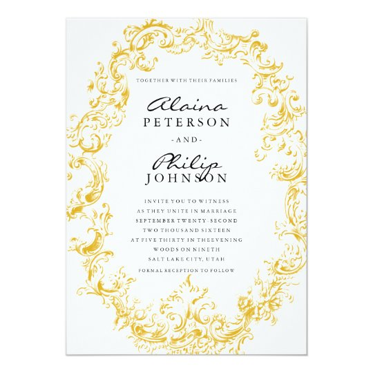 elegant gold frame wedding invitation template zazzle com