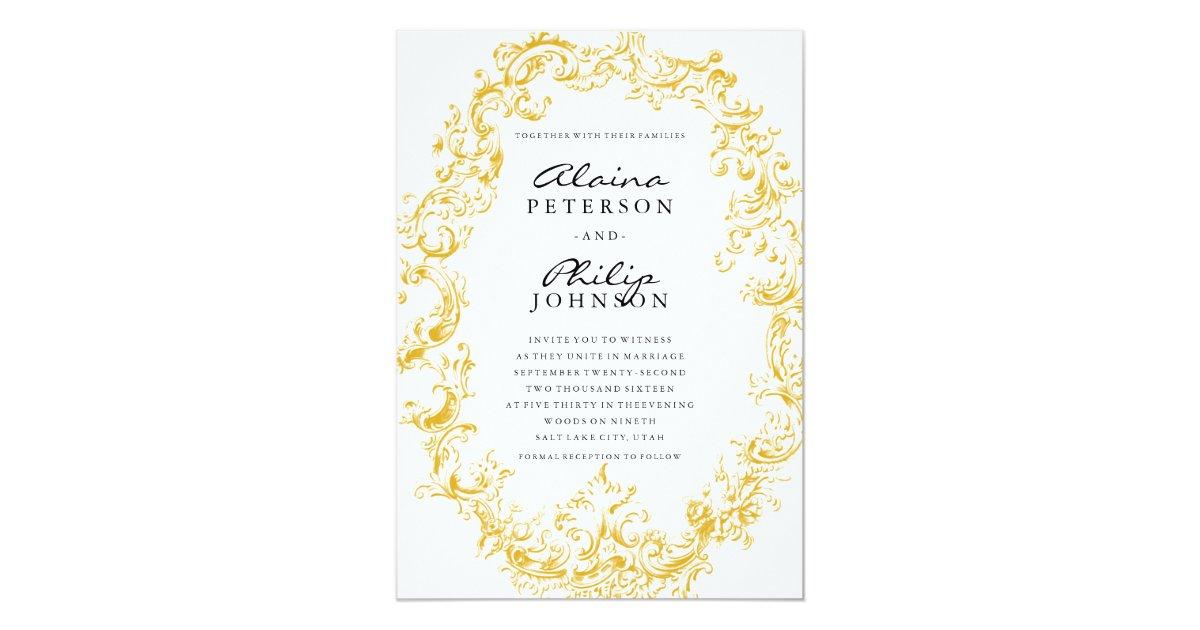 Elegant Gold Frame Wedding Invitation Template Zazzle Com