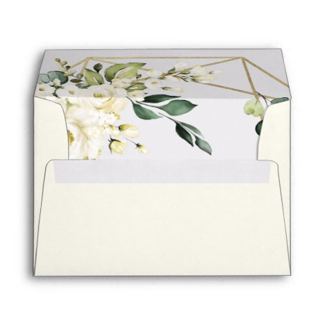 Elegant Gold Geometric Floral Greenery Wedding Envelope