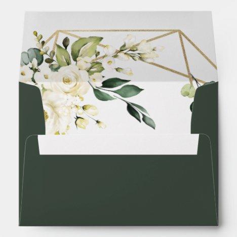 Elegant Gold Geometric Floral Greenery Wedding Envelope