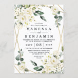 """Elegant Gold Geometric Floral Greenery Wedding Invitation<br><div class=""""desc"""">Design features an elegant printed gold colored geometric frame decorated with watercolor flowers in neutral shades, such as - white, ivory, champagne, and more. The floral elements consist of roses, peonies, hydrangea and baby's breath. This modern template also features greenery, eucalyptus, leaf elements and more for a very unique look...</div>"""