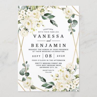 Elegant Gold Geometric Floral Greenery Wedding Invitation