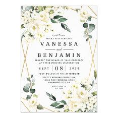Elegant Gold Geometric Floral Greenery Wedding Invitation at Zazzle