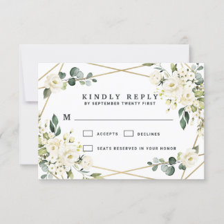 Elegant Gold Geometric Floral Greenery Wedding RSVP Card