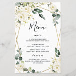 """Elegant Gold Geometric Floral Wedding Menu Cards<br><div class=""""desc"""">Template features an elegant printed gold colored geometric frame decorated with watercolor flowers in neutral shades, such as - white, ivory, champagne, and more. The floral elements consist of roses, peonies, hydrangea and baby's breath. This modern design also features greenery, eucalyptus, leaf elements and more for a very unique look...</div>"""