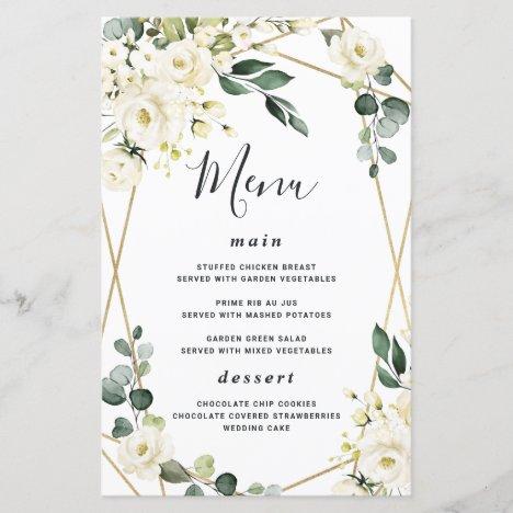 Elegant Gold Geometric Floral Wedding Menu Cards