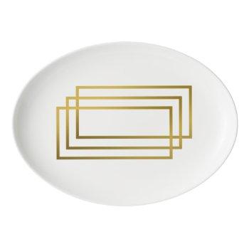 elegant gold geometric rectangles porcelain serving platter