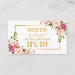 "Elegant Gold Girly Floral Beauty Salon Referral<br><div class=""desc"">Elegant Gold Chic Pink Floral Beauty Salon - Referral Discount Coupon Card.