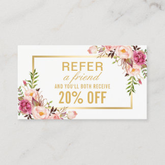 Elegant Gold Girly Floral Beauty Salon Referral