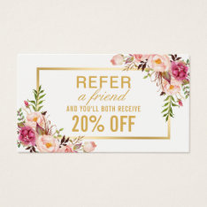 Elegant Gold Girly Floral Beauty Salon Referral Business Card at Zazzle