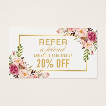 CardHunter Elegant Gold Girly Floral Beauty Salon Referral Business Card