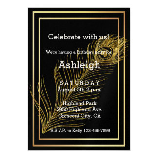 Elegant Gold Glam Peacock Feather birthday 5x7 Paper Invitation Card