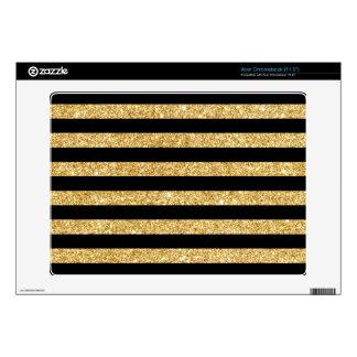 Elegant Gold Glitter and Black Stripe Pattern Skin For Acer Chromebook