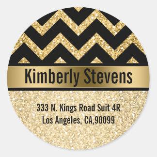 Elegant Gold Glitter Black Chevron Gold Accents Classic Round Sticker