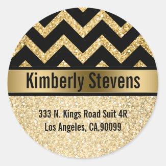 Elegant Gold Glitter Black Chevron Gold Accents