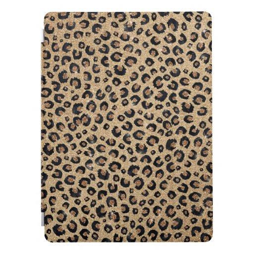 Elegant Gold Glitter Black Leopard Print iPad Pro Cover