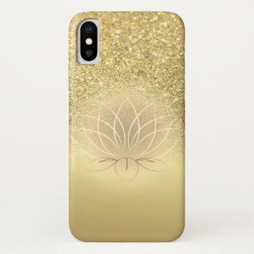 Elegant Gold  Glitter Bokeh Lotus iPhone XS Case