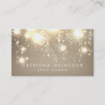 Elegant Gold Glitter Bokeh Luxe Business Card