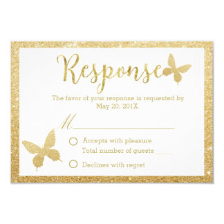 Elegant Gold Glitter Butterfly Wedding Response Card