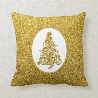 Elegant Gold Glitter Christmas Tree Decorative Throw Pillow